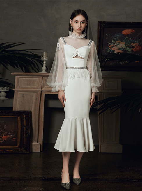 Find Your Dress For Prom! Sexy White Mermaid Satin Tulle Long Sleeve Wedding Dress