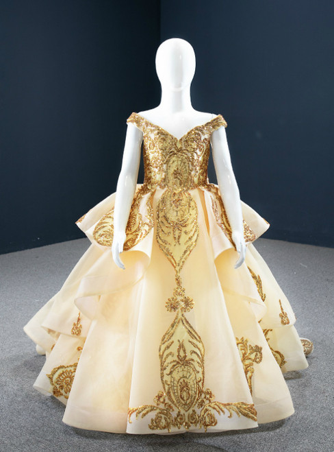 To Choose From Gold Ball Gown Tulle Sequins Appliques Flower Girl Dress