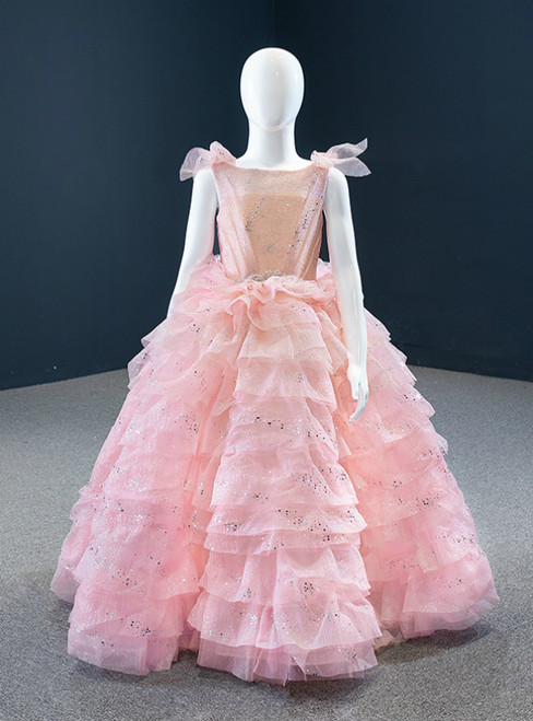 In One Step Pink Ball Gown Tulle Tiers Sequins Beading Flower Girl Dress