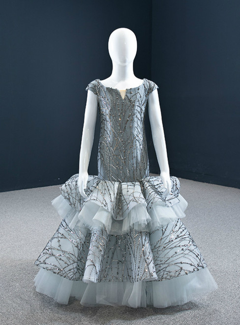 Is a Rite Of Passage Gray Mermaid Tulle Sequins Bateau Cap Sleeve Flower Girl Dress