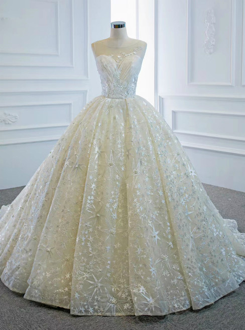 You'll Always Remember Wearing Champagne Ball Gown Tulle Embroidery Pleats Wedding Dress