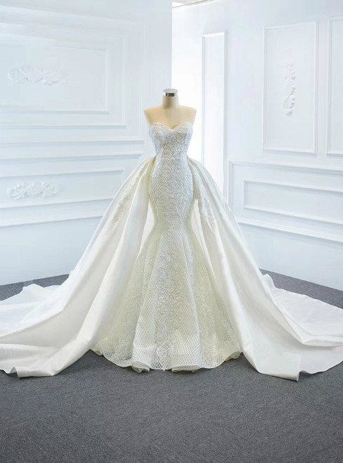 For The Very Best In Unique Or Custom. White Mermaid Lace Sweetheart Satin Wedding Dress With Removable Train