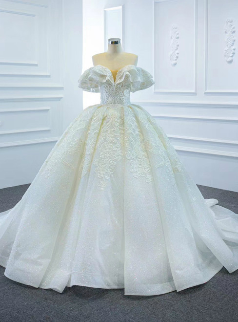 Just Be The One For You White Ball Gown Tulle Appliques Beading Off the Shoulder Wedding Dress
