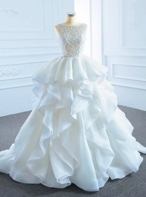 The Largest Variety Of Styles White Ball Gown Organza Bateau Bakless Wedding Dress With Beading