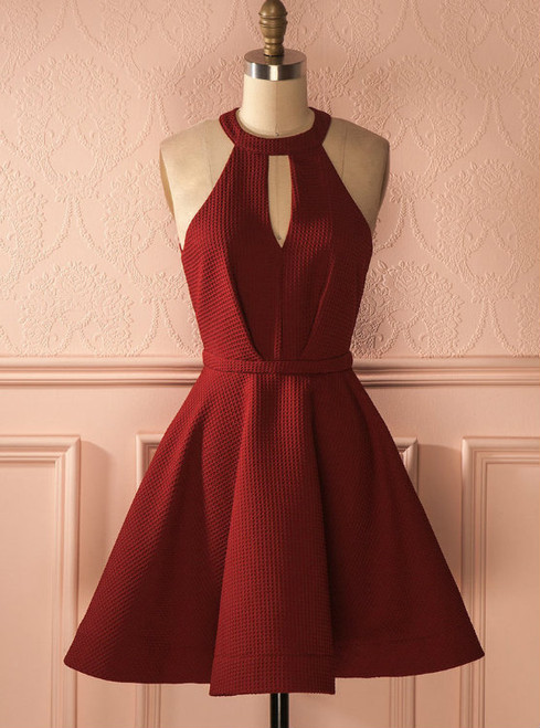 Sexy A-Line Halter Open-Back Burgundy Short Homecoming Dress With Pleats