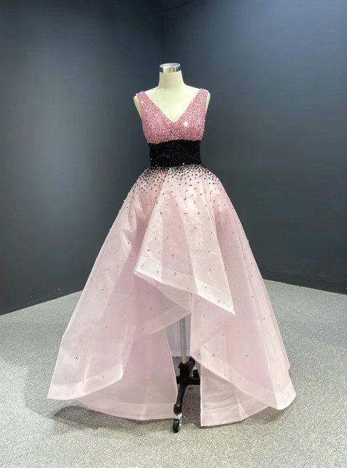 For You Pink Hi Lo Organza V-neck Heavy Beading Prom Dress