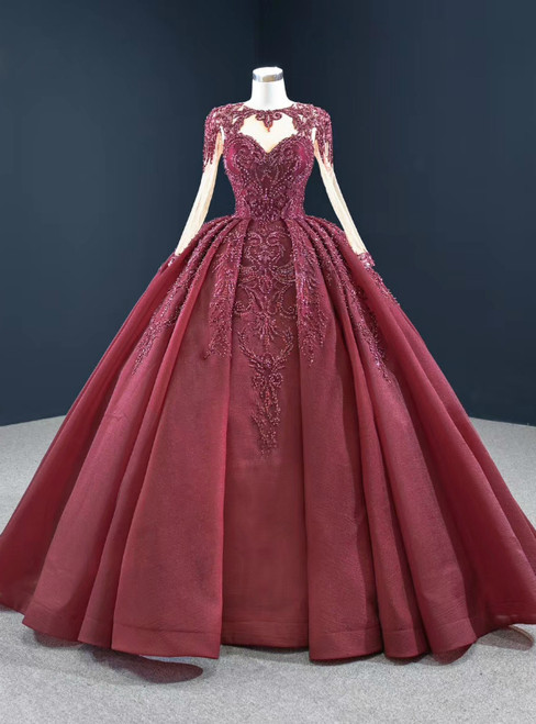 At Incredible Price Burgundy Ball Gown Organza Beading Long Sleeve Prom Dress