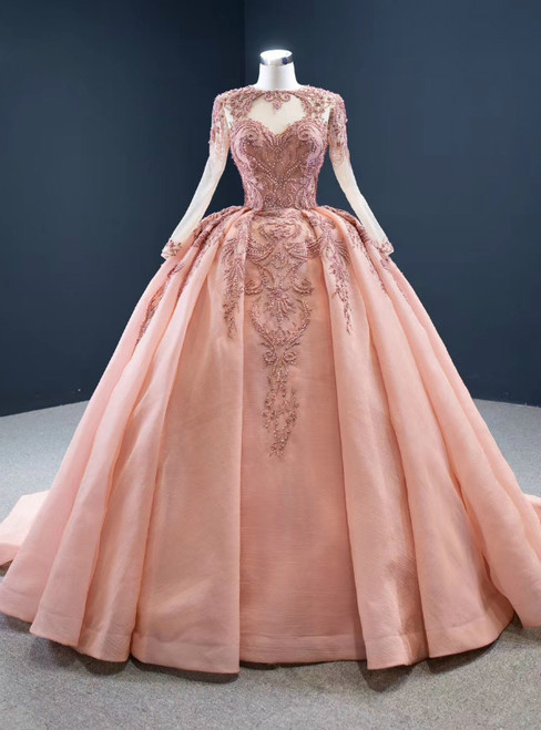 To Fit Your Style Pink Ball Gown Organza Beading Long Sleeve Prom Dress