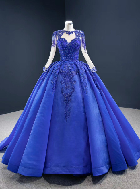 Fit Your Body Type Royal Blue Ball Gown Organza Beading Long Sleeve Prom Dress