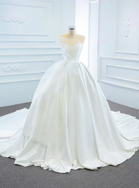 Come In a Wide Variety Of On-Trend Styles, White Ball Gown Satin Sweetheart Pleats Wedding Dress With Train