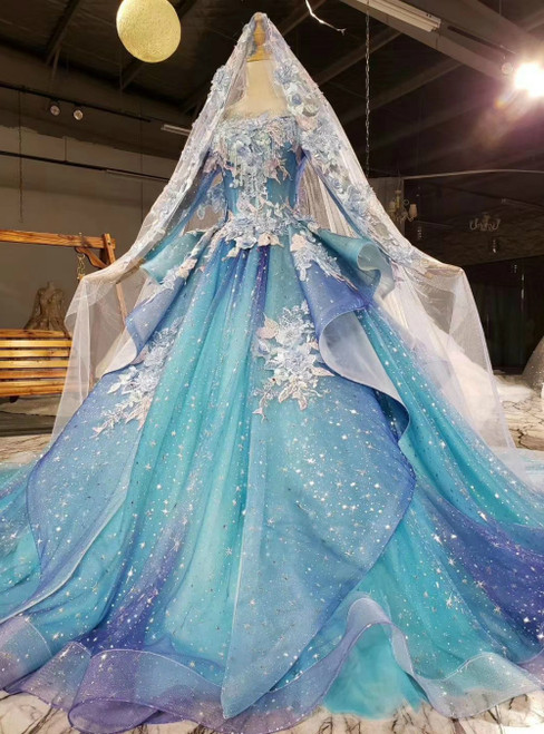 Will Be Available For Purchase Blue Ball Gown Tulle Sequins Long Sleeve Appliques Beading Wedding Dress