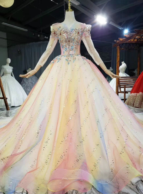 Come In All Styles And Colors Colorful Ball Gown Tulle Sequins Long Sleeve Crystal Wedding Dress