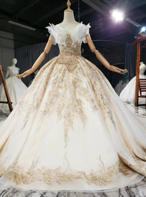 For You Next Prom Dance Champagne Ball Gown Tulle Embroidery Appliques Beading Wedding Dress
