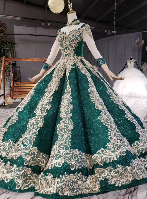 Looking For Cute And Stylish Green Ball Gown Sequins Gold Appliques High Neck Long Sleeve Wedding Dress