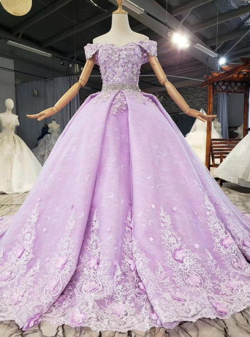 Shop For The Perfect Purple Ball Gown Tulle Appliques Off the Shoulder Wedding Dress