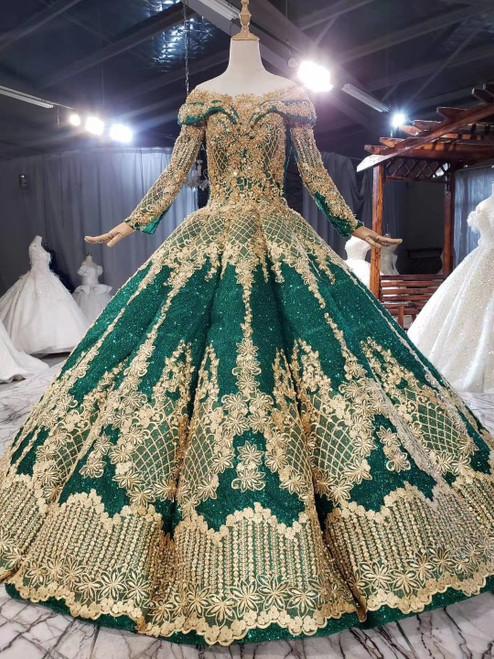 Shop Online Green Ball Gown Sequins Appliques Beading Long Sleeve Wedding Dress