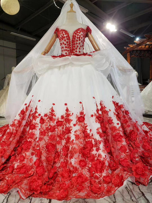 White Ball Gown Tulle Red 3D Appliques Cap Sleeve Wedding Dress With Train