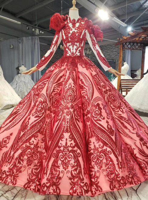 With Kemedress, You'Ll Find Red Ball Gown Sequins Long Sleeve High Neck Beading Wedding Dress