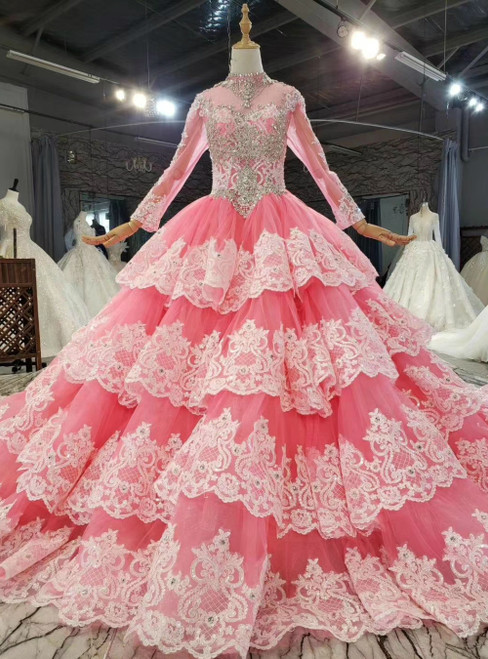 Shop An Amazing Selection Of Pink Ball Gown Tulle Lace Appliques High Neck Long Sleeve Wedding Dress