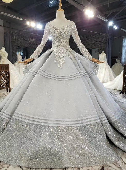 Shop 2020 Silver Gray Ball Gown Tulle Sequins Long Sleeve Appliques Beading Wedding Dress