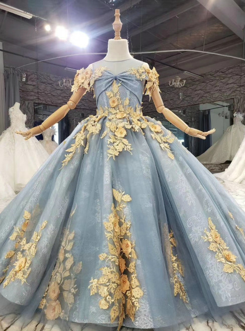 Free Shipping Blue Ball Gown Tulle Lace Sleeveless Appliques Flower Girl Dress