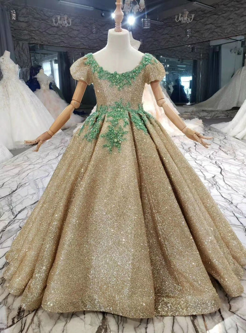 Take Center Stage In Gold Ball Gown Sequins Short Sleeve Green Appliques Flower Girl Dress