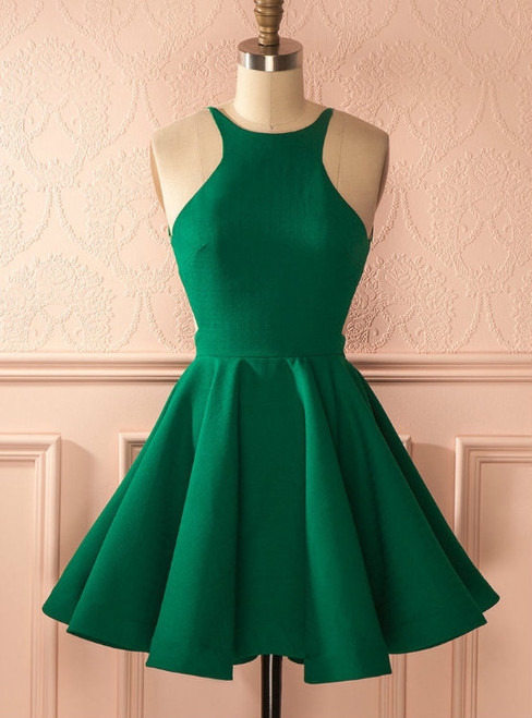 Fashion A-Line Halter Backless Green Homecoming Dress With Pleats