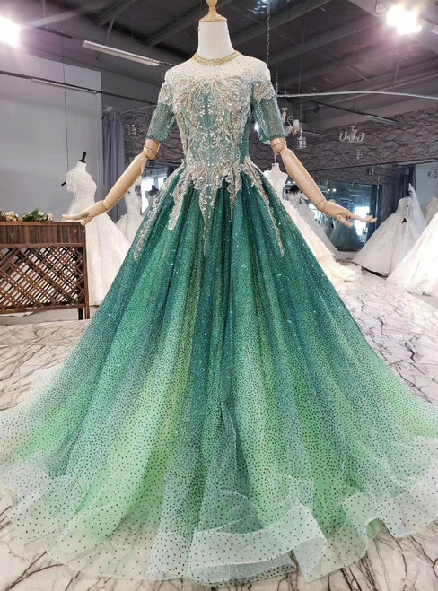 Biggest Sale Green Ball Gown Sequins Short Sleeve Beading Backless Prom Dress