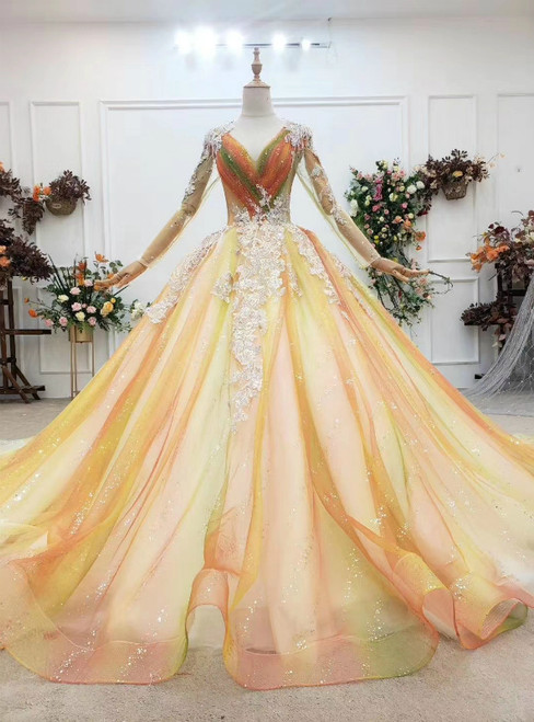 Find Plenty Of Champagne Ball Gown Tulle Long Sleeve V-neck Appliques Wedding Dress