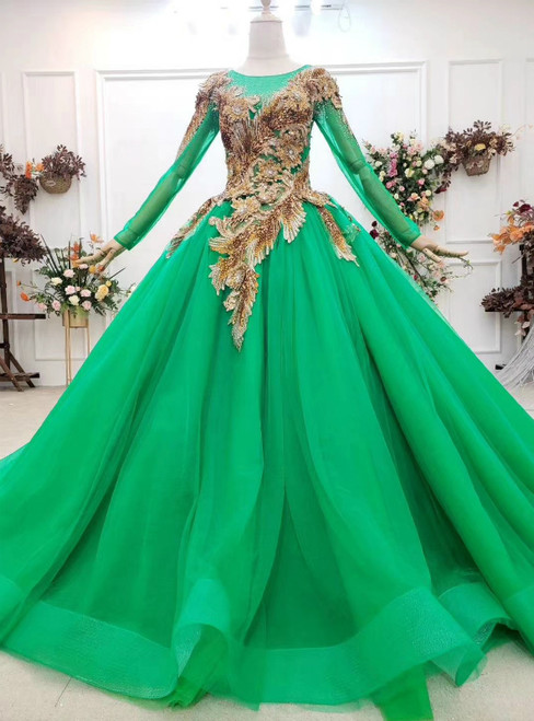100% Custom Made Green Ball Gown Tulle Sequins Appliques Long Sleeve Wedding Dress
