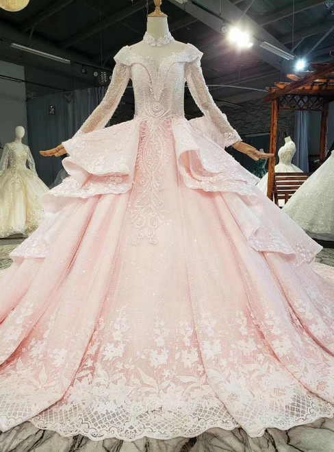 All Sizes Pink Ball Gown Tulle Sequins High Neck Long Sleeve Wedding Dress