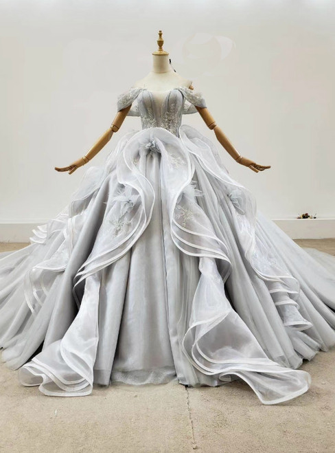 Custom Tailored Gray Ball Gown Tulle Off the Shoulder Appliques Wedding Dress