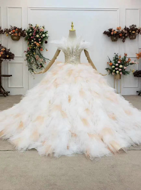 High Quality Champagne Ball Gown Tulle Spagehtti Straps Appliques Beaidng Wedding Dress