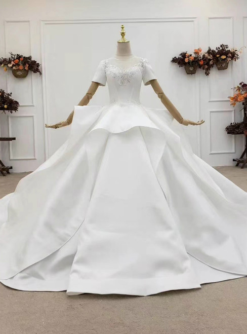 Low Price Guarantee White Ball Gown Satin Short Sleeve Beading Backless Wedding Dress