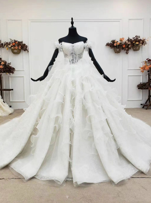 Buy More, Save More White Ball Gown Tulle Sequins Off the Shoulder Beading Wedding Dress