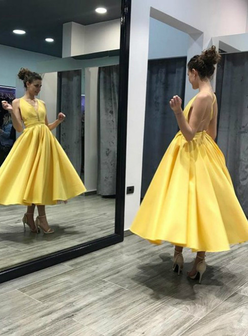 Backless Satin Midi Prom Dress in Yellow , Deep V neck Short Party Ball Gown