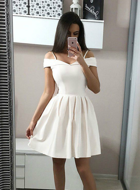 A-Line White Spaghetti Straps Satin Homecoming Dress