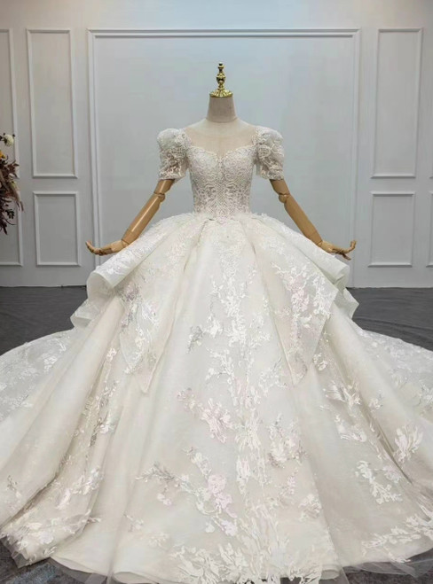 Buy More, Save More Ivory White Ball Gown Tulle Lace Short Sleeve Appliques Beading Wedding Dress