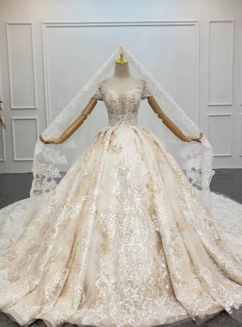 Largest Luxury Champagne Ball Gown Tulle Appliques Beading Off the Shoulder Wedding Dress