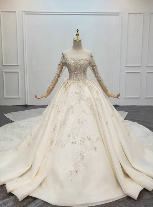 Find All Of The Latest Styles Champagne Ball Gown Tulle Off the Shoulder Long Sleeve Beading Wedding Dress