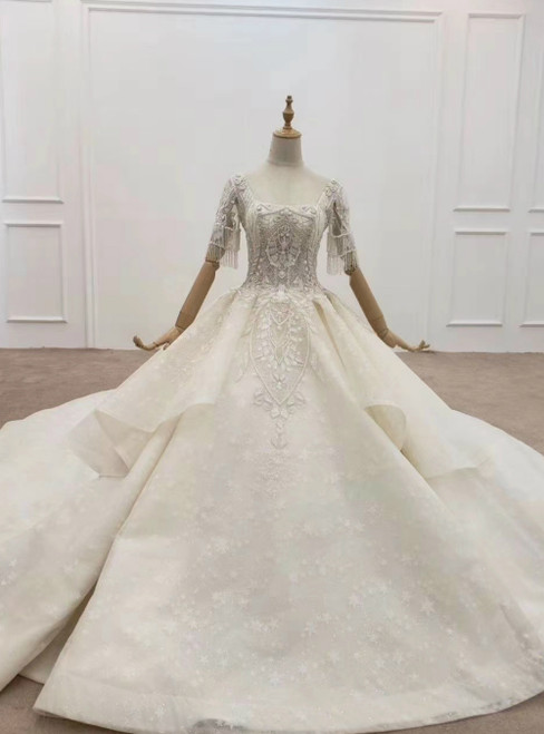 Shop Sexy Champagne Ball Gown Tulle Sequins Square Short Sleeve Beading Wedding Dress