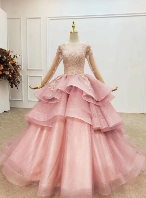 With 1000s Of Pink Ball Gown Tulle Beading Sequins Long Sleeve Wedding Dress