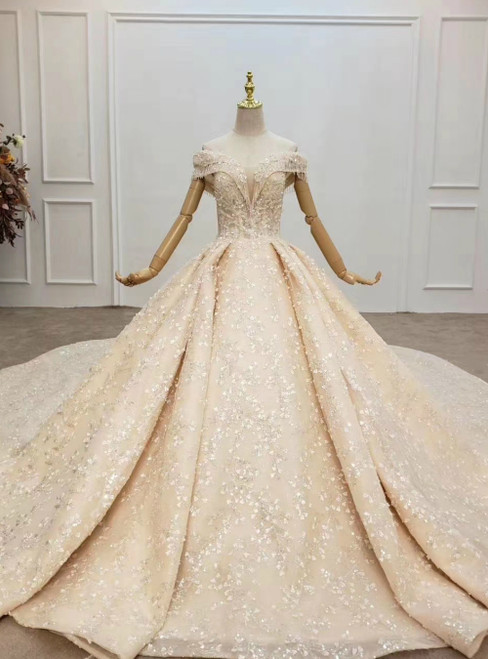 Whether You Are Looking For Luxury Champagne Ball Gown Tulle Sequins Appliques Off the Shoulder Wedding Dress