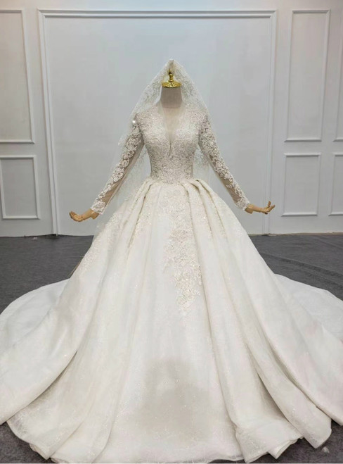 Be The Prom Queen White Tulle Lace Appliques V-neck Long Sleeve Wedding Dress