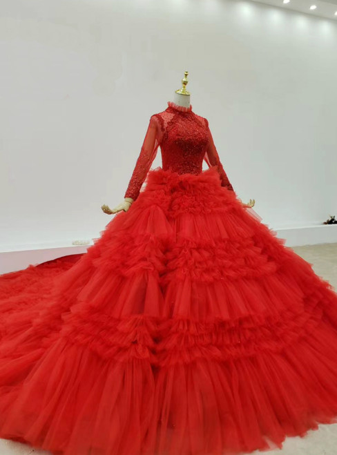 It's Prom Season Red Ball Gown Tulle Long Sleeve Beading Tiers Wedding Dress With Long Train