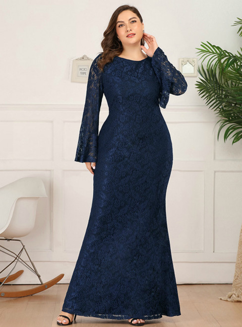 Browse Our Lovely Sexy Navy Blue Mermaid Lace Long Sleeve Plus Size Prom Dress