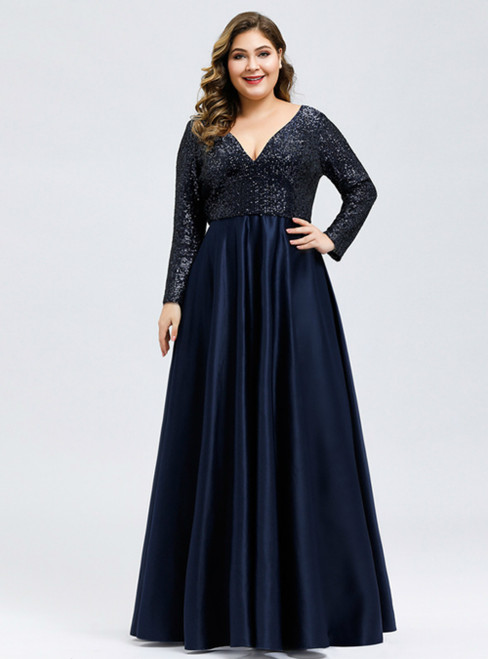 Don't Miss The Amazing & Affordable A-Line Navy Blue Satin Sequins V-neck Long Sleeve Plus Size Prom Dress