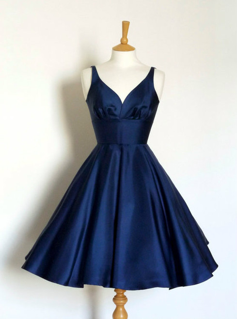 Navy blue Short Fashion Party Dress V neck A Line Prom Dress Backless Homecoming Dresses