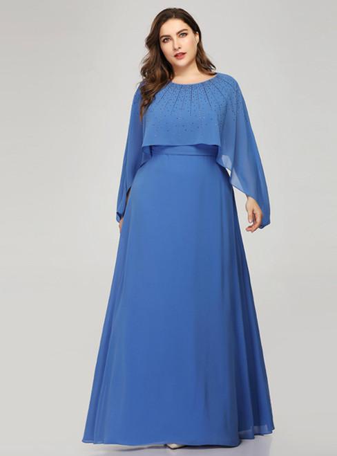 Amazing & Affordable A-Line Blue Chiffon Beading Short Sleeve Plus Size Prom Dress