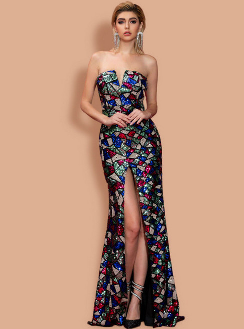 Stand Out With Colorful Mermaid Sequins Strapless Party Dress With Split